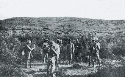 Picture of A group of the IoW Rifles with Turkish prisoners below Incarta Ridge