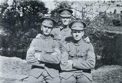 Picture of C company. Sergeants Elliott, Clark (back) and Early at Bury St. Edmunds, 1915