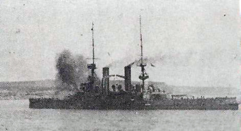 Picture of HMS Swiftsure firing at the Dardanelles 1915